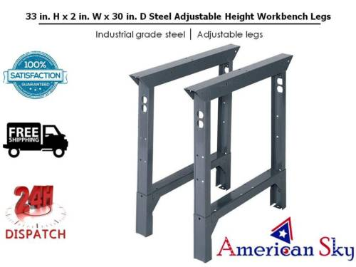 Edsal 33 in. H x 2 in W x 30 in. D Steel Adjustable Height Workbench Legs ABL30