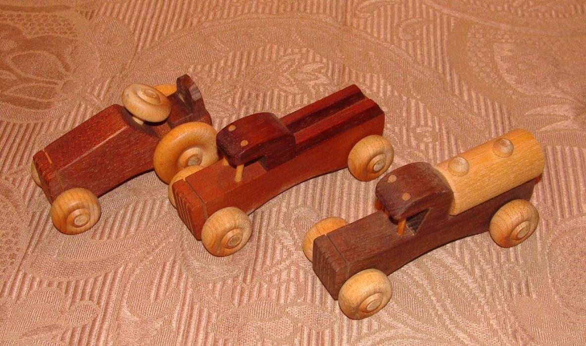 3 Hand Made Wooden Toy, Pickup Truck, Tanker Truck & Tractor