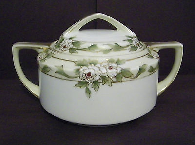 handpainted nippon sugar bowl with raised gold trimmed flowers