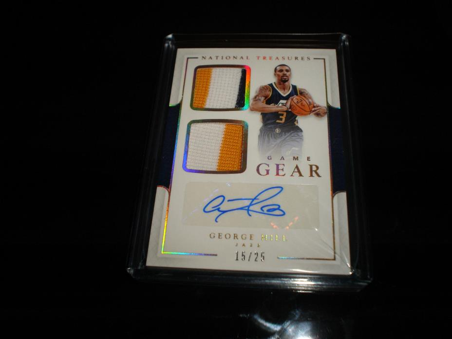 GEORGE HILL NATIONAL TREASURES 2016-17 DUAL JERSEY PATCH AUTO 15/25