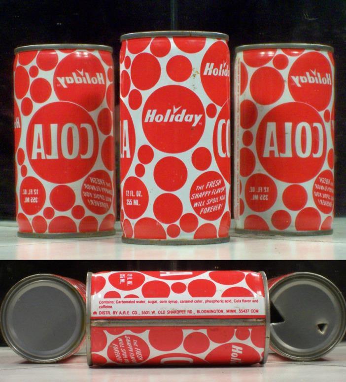 Holiday COLA Soda Pop Flat Top Can A.R.E. Blommington 55437 Minnesota SC144 T/O