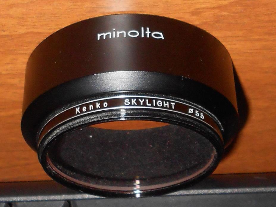 Minolta D55NA Lens Hood W/KENKO SKYLIGHT #55 LENS FILTER