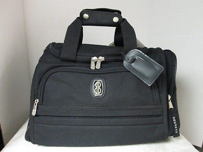 BILL BLASS Black Tote Duffle GYM Overnight BAG Lined Expandable w/ ID holder NWT