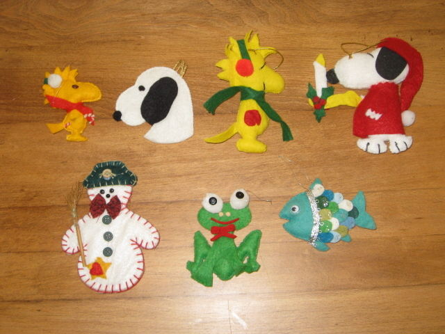 7 FELT ORNAMENTS – SNOWMAN, FISH & CARTOON ANIMALS