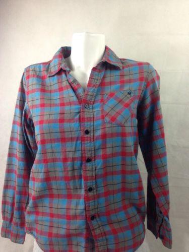 Shaun White Boy's Shirt Button Up Red Blue Gray Plaid Long Sleeve Bin 27 #6