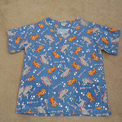 WOMANS SZ. S SCRUB TOP, FISH AND TOOTHPASTE, GREAT FOR DENTAL WORKER