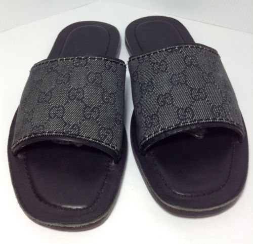 Gucci Black GG Canvas Slide Sandals Mens Size 40.5