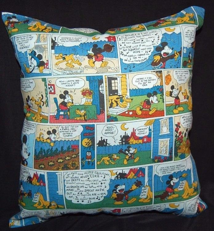 NEW  DISNEY HANDMADE MICKEY MOUSE COMIC TRAVEL / CUDDLE/TODDLER PILLOW