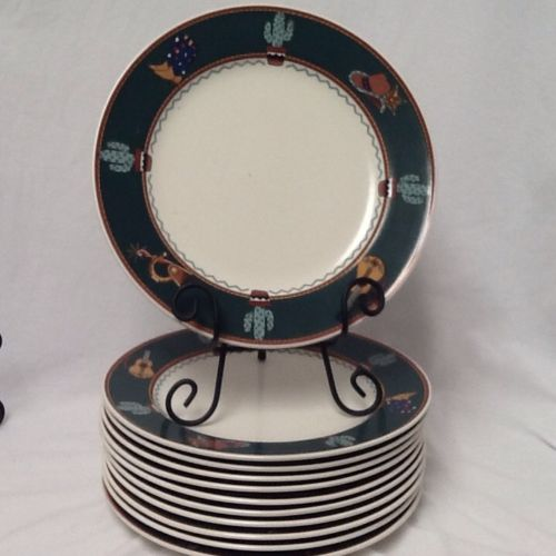 SET of 11 Mikasa Country Trail Southwest CAC81 Dinner Plates Cowboy Boots