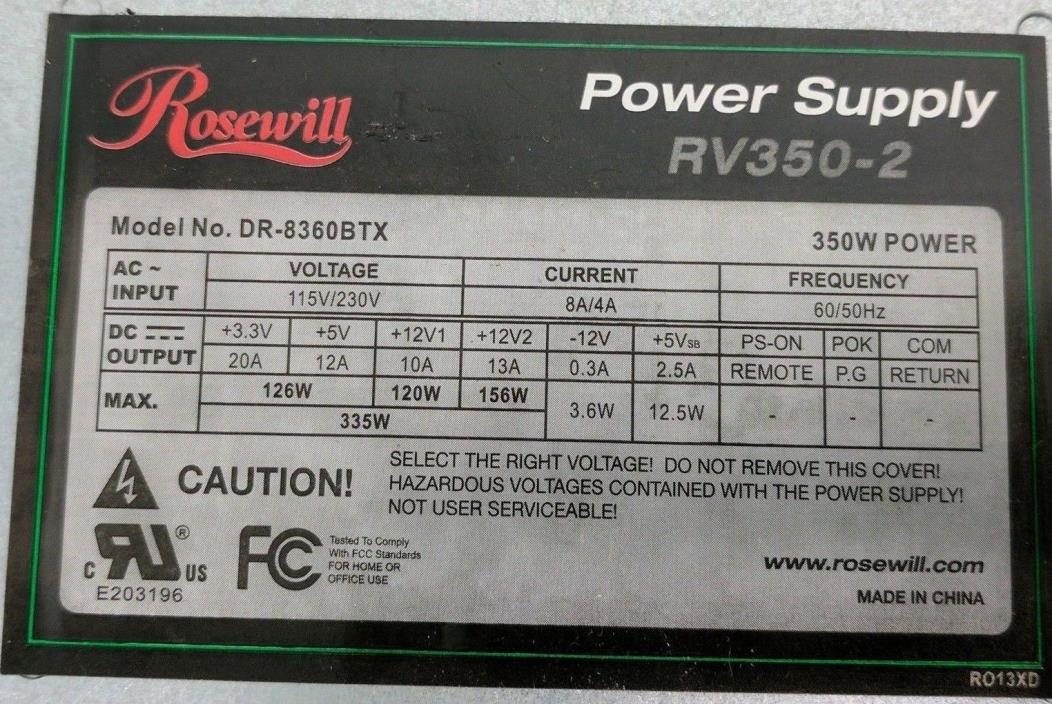 Rosewill RV350-2 350W ATX 12V v2.2 Power Supply