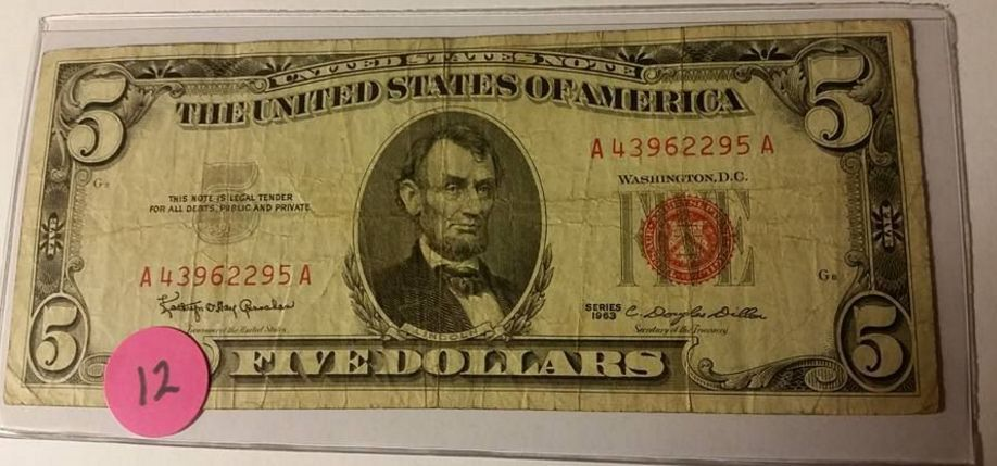 $5 Red Seal   Note Vintage 1963 Series Five Dollar Bill   USA SHIP Lot #  12