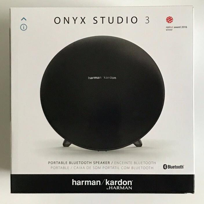 NEW Harman Kardon Onyx Studio 3 Portable Bluetooth Speaker Wireless Black W/ Mic