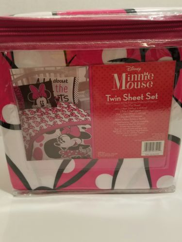 3 Piece Girl's Minnie Mouse  Disney Twin Sheet Set For Child's Bedroom