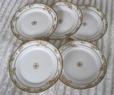 Five Hand Painted Nippon Raised Gold Trim Floral Bordered 6