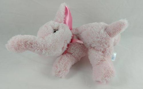Garanimals Pink Elephant Stuffed Plush Satin Ears Ribbon Bow Baby Toy 8