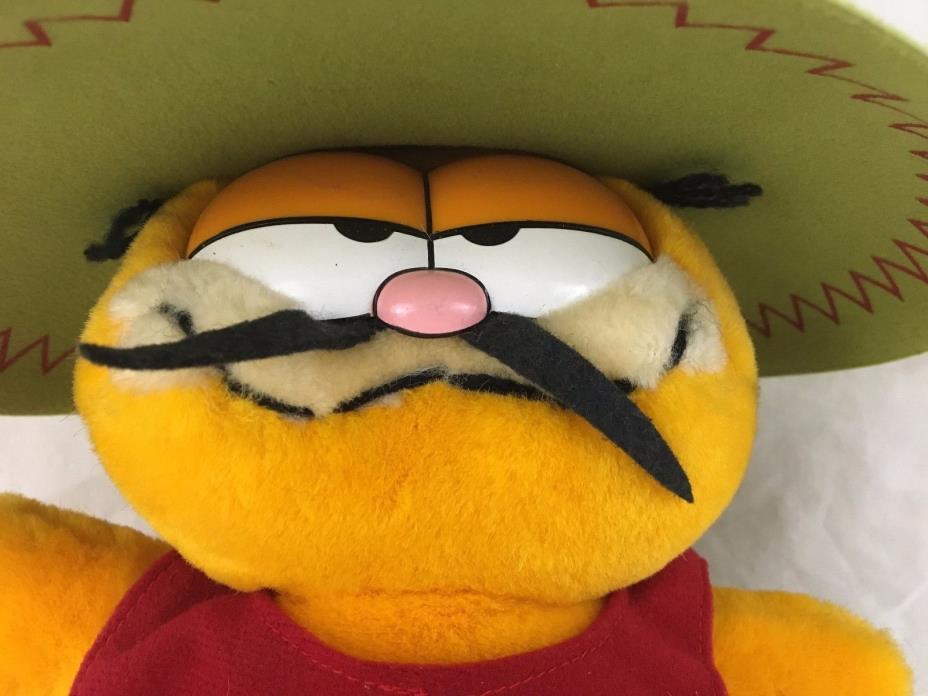 Vintage Senor Garfield Plush Stuffed Cat Sarape Sombrero Mustache 10th Birthday