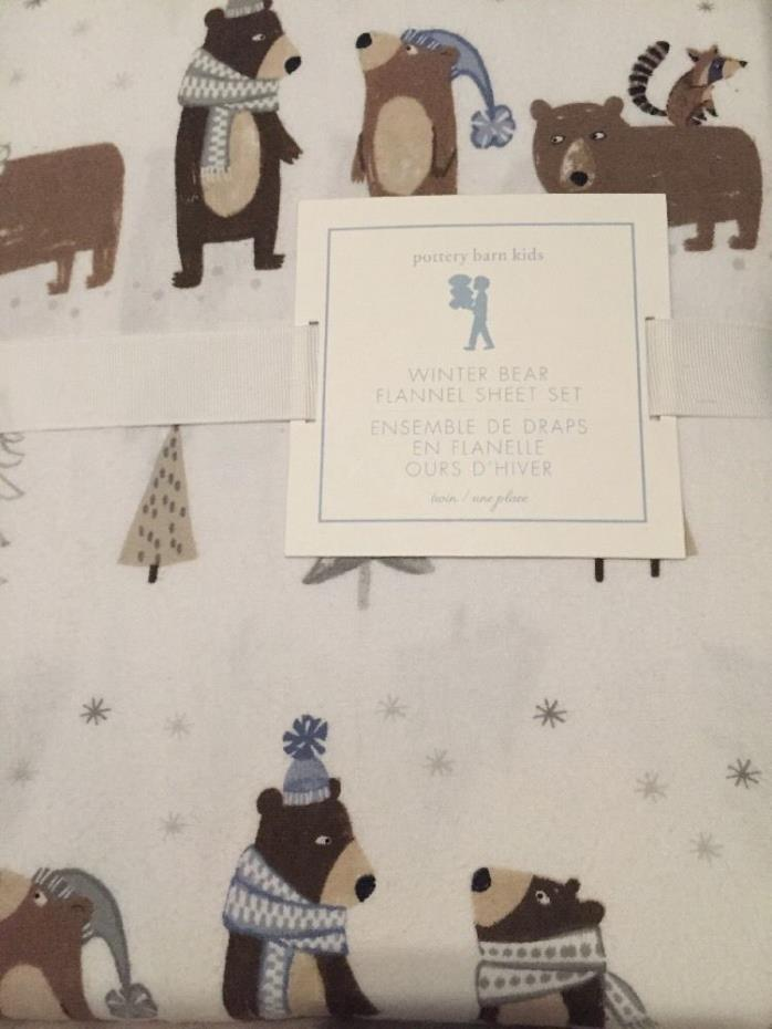 New Pottery Barn Kids Winter BEAR Full SHEETS  flannel