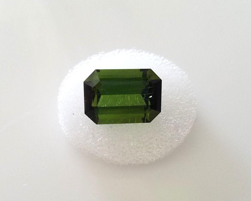 Green Tourmaline Fine Emerald / Rectanular Cut  Loose Gemstone 8.12 carats