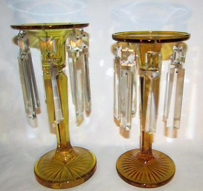 Pair of Antique Elegant Amber Glass Candle Stands with Crystals - Mantle Lusters