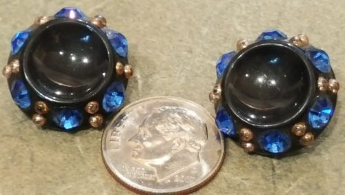 2 Antique Blue Rhinestone Black Buttons ¾