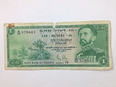 Bank Note - One Ethiopian Dollar ~ State Bank Of Ethiopa ~ Torn In Center