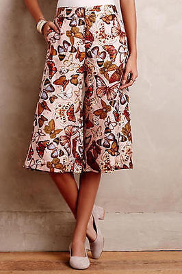 ANTHROPOLOGIE Elevenses Mariposa Silk Culottes Wide Leg Crops size 6