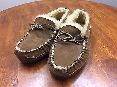 LL Bean Mens Wicked Good Suede Shearling Sheepskin Moccasin Winter Slippers 9W