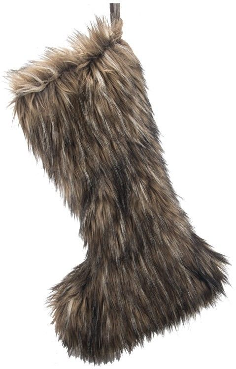 Christmas stocking brown black faux fur BZ010 24