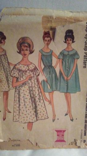Vtg McCall's 7053 Robe Gathered Belted Nightgown Sewing Pattern sz 18 uncut