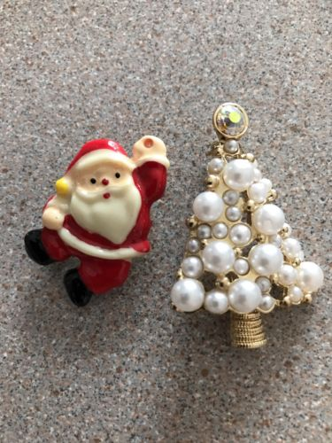 Holiday PEARL Christmas Tree, Santa Brooch, Gift, Mother, Birthday, Accessories