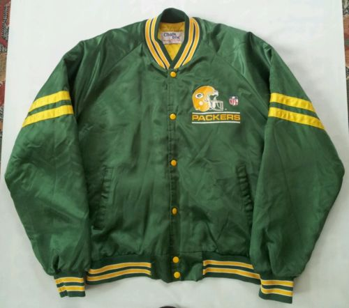 VINTAGE CHALK LINE NFL GREEN BAY PACKERS  JACKET IN SIZE XL MADE IN USA