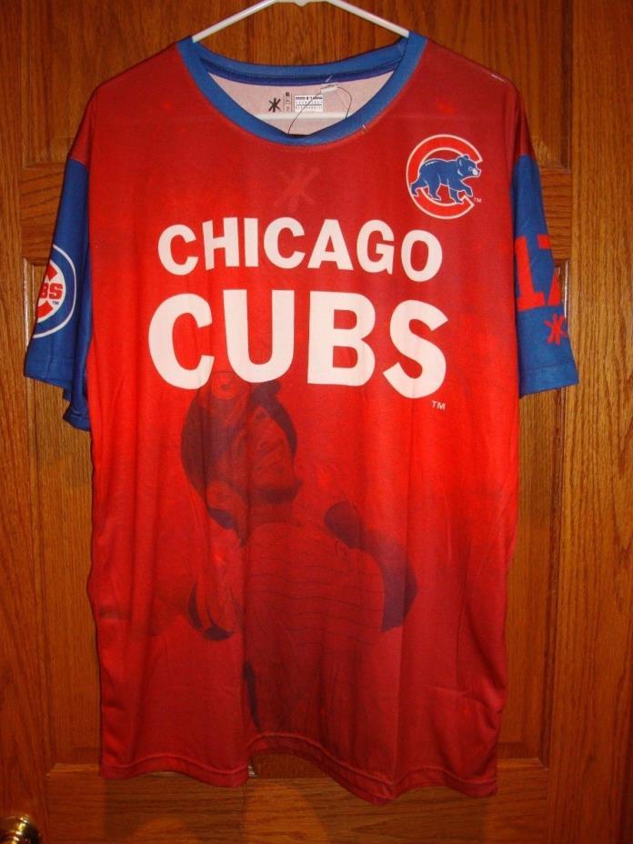 KLEW MLB Men's Chicago Cubs Kris Bryant #17  Watermark  T-shirt  Red XL NWT!!!
