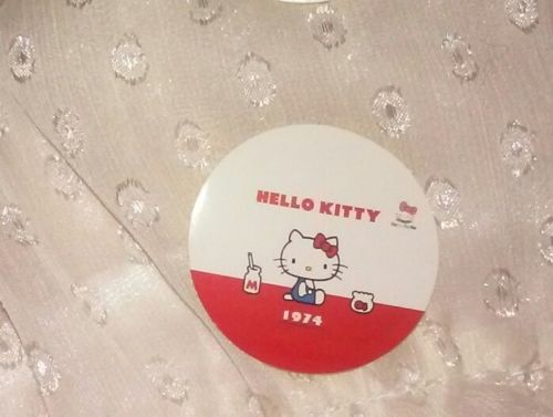 1-7/16in Sanrio Hello Kitty Sticker 1974 throwback style vintage retro milk fish