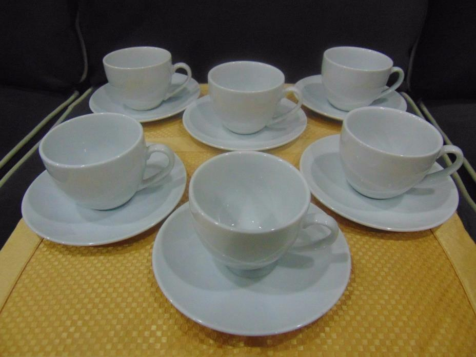 Lot of 6 William Sonoma Brasserie White Cups and Saucers Japan