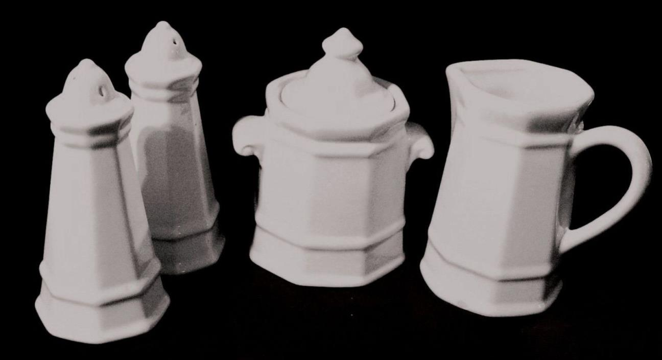 Pfaltzgraff HERITAGE WHITE Salt & Pepper Shakers / Covered Sugar Bowl & Creamer