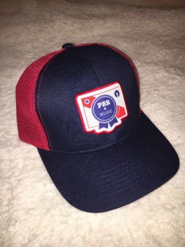 Pabst Blue Ribbon Mesh Trucker Hat Beer PBR MUSIC Hipster Red White and Blue