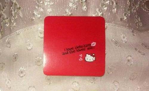 1.5in Hello Kitty Sticker I Love Hello Kitty and She Loves Me heart red lipstick