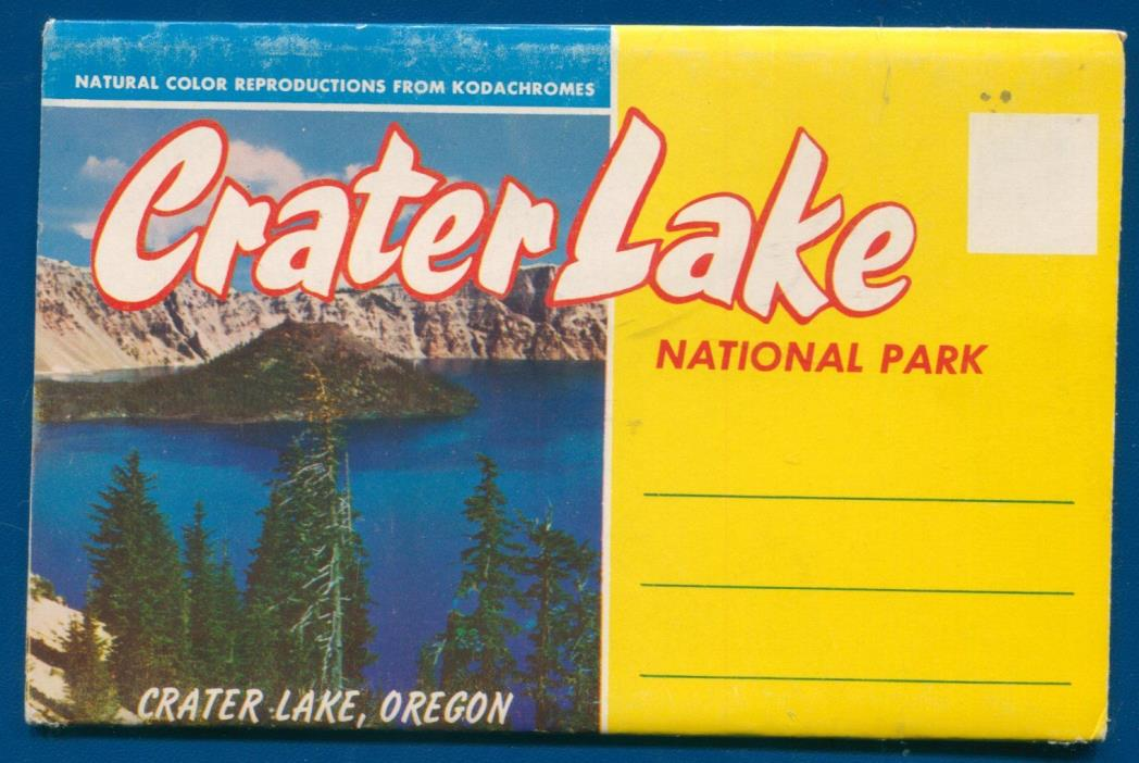 Crater Lake Oregon or chrome postcard folder foldout
