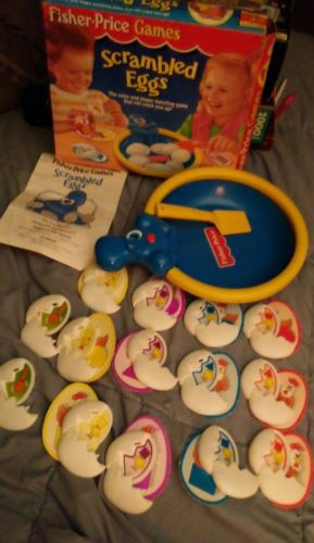 1994 Fisher-Price Scrambled Eggs Color & Shape Matching Game preschool COMPLETE