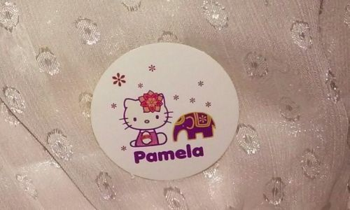 1-7/16in Hello Kitty Sticker 'PAMELA' name flower elephant purple orange white