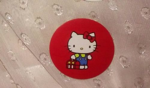 1-7/16in Hello Kitty Sticker LUNCH BOX off to school red yellow blue