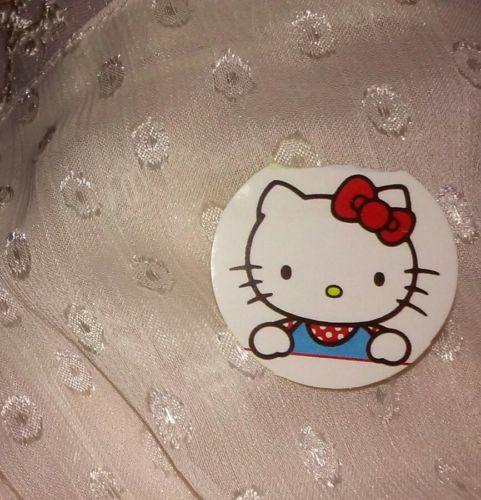 Damaged 1-3/16in Hello Kitty Sticker PEERING OVER red white blue