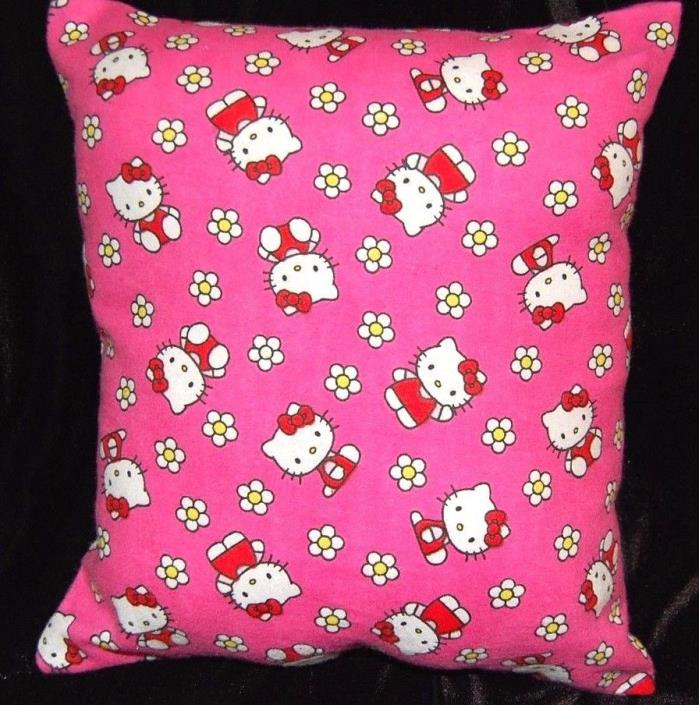 NEW  HANDMADE HELLO KITTY FLANNEL PINK WITH FLOWERS TODDLER/TRAVEL PILLOW