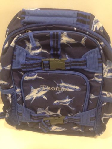 Pottery Barn Kids Small Mckenzie Backpack Blue Sharks  - Monogram- Thomas
