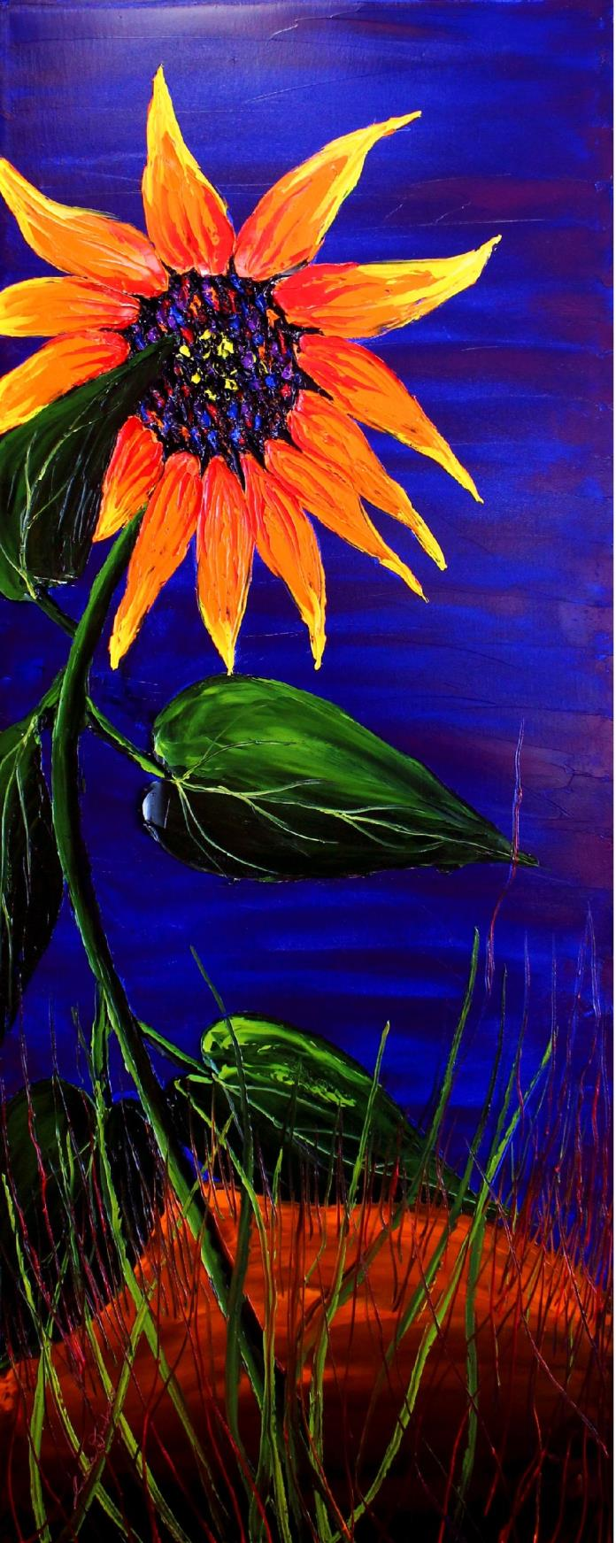 Mid-Night Orange Sunflower #5