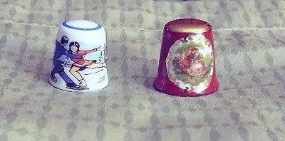 Vintage Thimble Lot of 2-Limoges France-Reutter Germany-porcelain