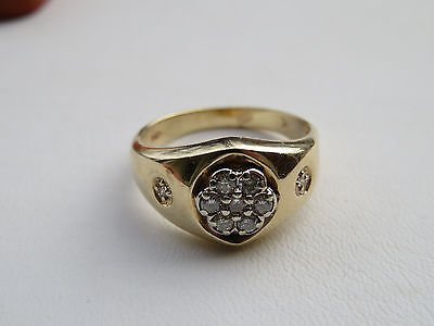 Estate Men's 10K Yellow Gold Diamond Ring 4.2 Grams Size 8.25
