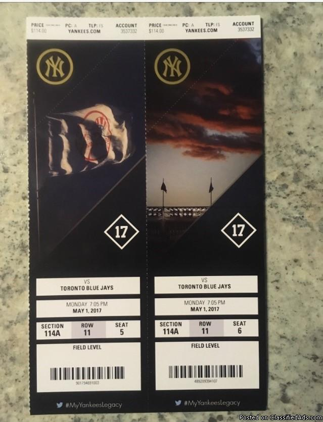 2 Tickets to Yankees vs. Blue Jays May 1, 2017