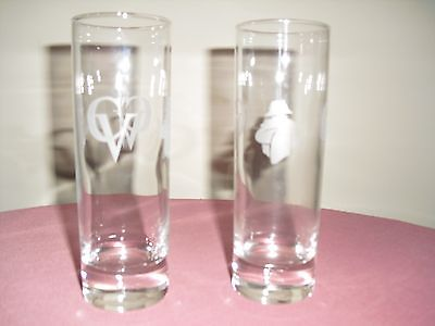SET OF 2 COURVOISIER CV COGNAC NAPOLEON ETCHED TUMBLERS / GLASSES