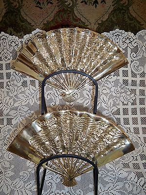 Vintage Brass Wall Fans Peacock and Floral
